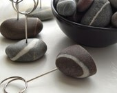 Multi Colored Striped Beach Stone Table Place Card Holders