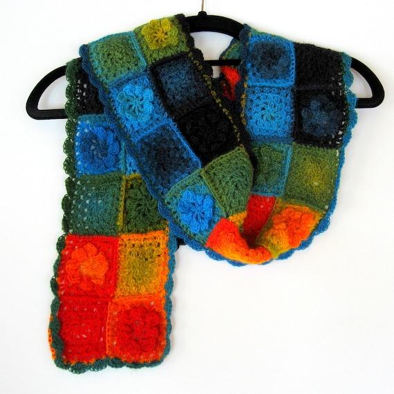 Crochet scarf in rainbow colours.  Own design. Unique. Long and versatile. OOAK.