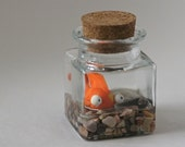 MADE TO ORDER - Pet polymerclay goldfish in corked class jar
