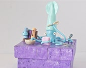 Cooking Squid Mounted On Purple Box Polymerclay Blues