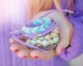 Friendship bracelets arm candy - Stackable bracelets spring fashion, seeds and pearls bracelets, wrap bracelet - Purple & mint - Set of 5
