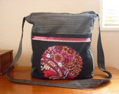 Pinstripes and Paisley Messenger Bag with zipper