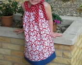 Fourth of July Pillowcase Style Dress with Fabric Bow (Size 4-8)