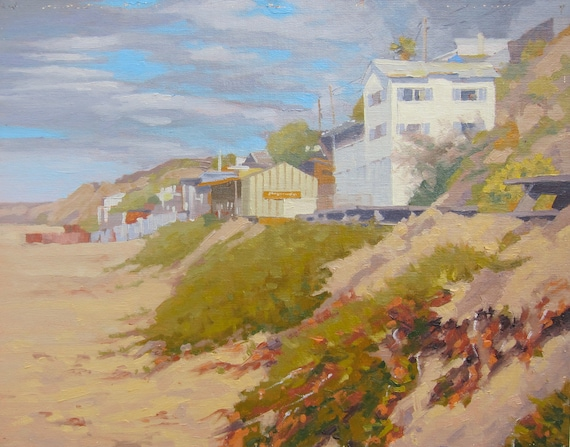 "Crystal Cove - Peaceful - 11"" x 14"" - original oil painting - Beach - Laguna - Sand - Bluffs - Ice Plant - Dunes - Cottage"