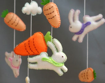 Follow the white rabbit - Rabits baby mobile - White rabbits mobile- rabbit -rabbit felt mobile