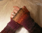 Rustic Fall Colours Fingerless Mittens / Wrist Warmers 100% Wool