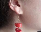 Genuine Handmade Red Jade earrings