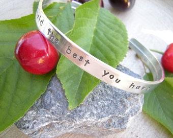 Graduation gift, Motivational bracelet, Your Quote bracelet, Inspirational Stamped Quote Bracelet, Inspirational Bracelet, Simple jewelry