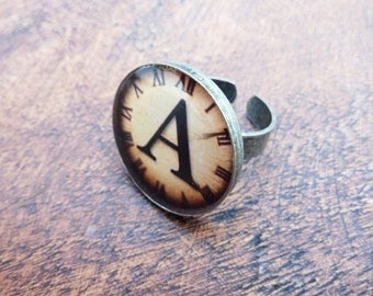 Personalised Resin Alphabet Clock Ring to Order.