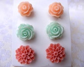 Pale nude flowers mint peach salmon shabby chic  post stud set