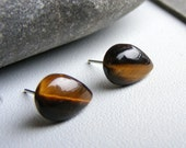 AAA tiger eye gemstone  affordable posts studs