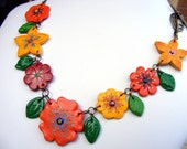 Cyber Monday, Cyber Monday Sale, Christmas gift Colorful Flower Bib Necklace Polymer Clay Garden flowers shabby chic spring summer
