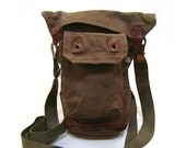 Antique Waxed Canvas & Leather Military Satchel