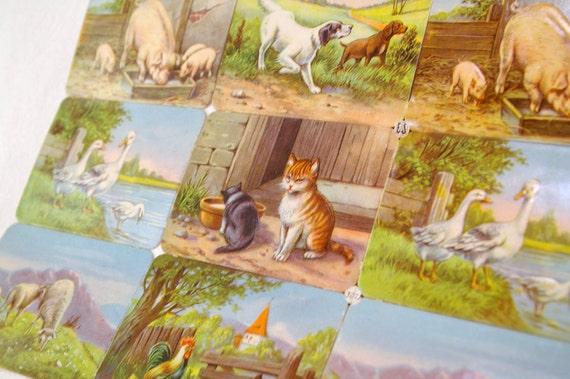 Antique Farm Animal Trading Card Set