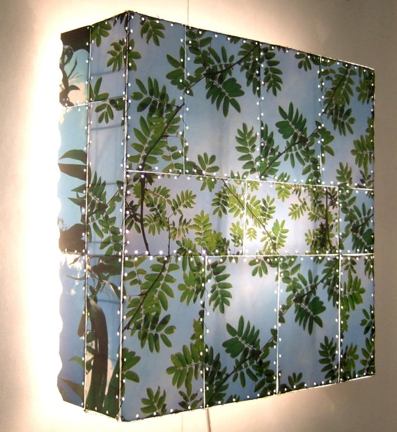 Wall lamp SUMMER TREE LEAVES nature mosaic, green, blue, art, handmade, laminated photos