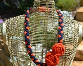 Orange and Blue Upcycled T-shirt Necklace (Made to order/Can Customize)
