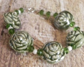decorative, ceramic beaded bracelet with crystal accents