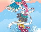 Rumi quote Art Print Illustration inspirational 8x10 phoenix - Scattering Stars