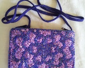 Beautiful Purple Beaded and Sequinned Evening Bag