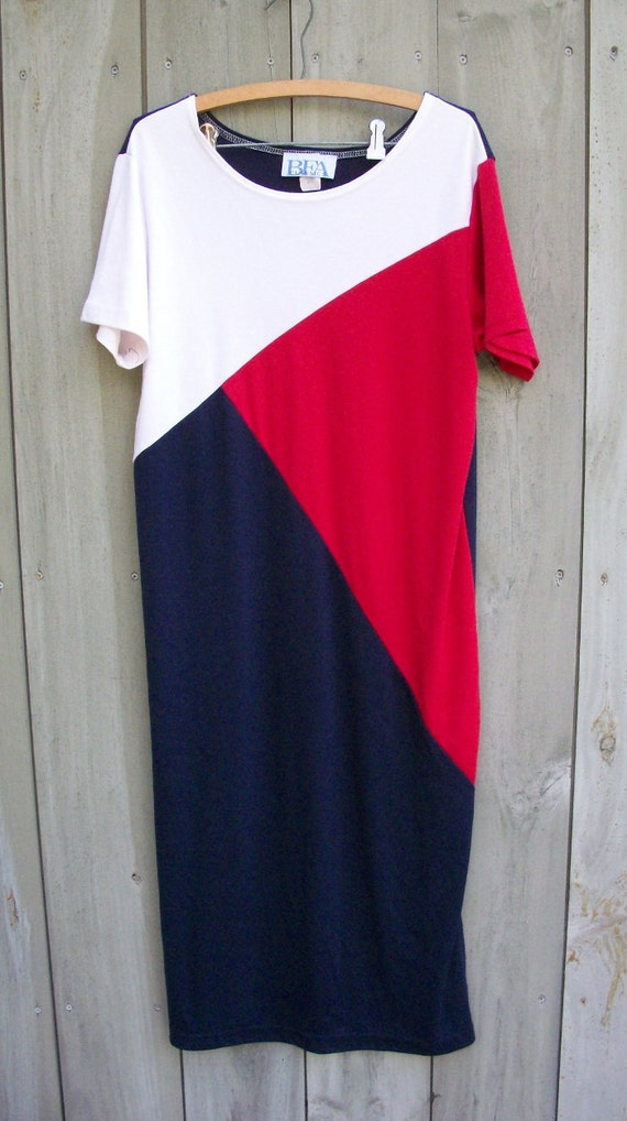 Vintage dress - knit red, white and blue T-shirt dress