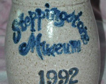Vintage Stoneware Souvenir Salt Glazed Crock, Steppingstone Museum,Old Fashioned Games Day, Collectible Crock