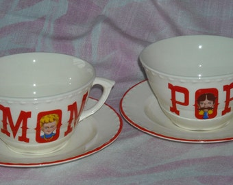 Crooksville China Mom and Pop Cups & Saucers Vintage Pair