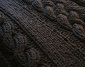 "DIY Knitting PATTERN - Throw Blanket / Rug Super Chunky Double Cable Approximately 49"" x 64"""