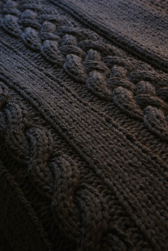 Cable Knit Throw Pattern : DIY Knitting PATTERN Throw Blanket / Rug Super Chunky Double