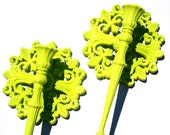Lime Green Retro Candle holders