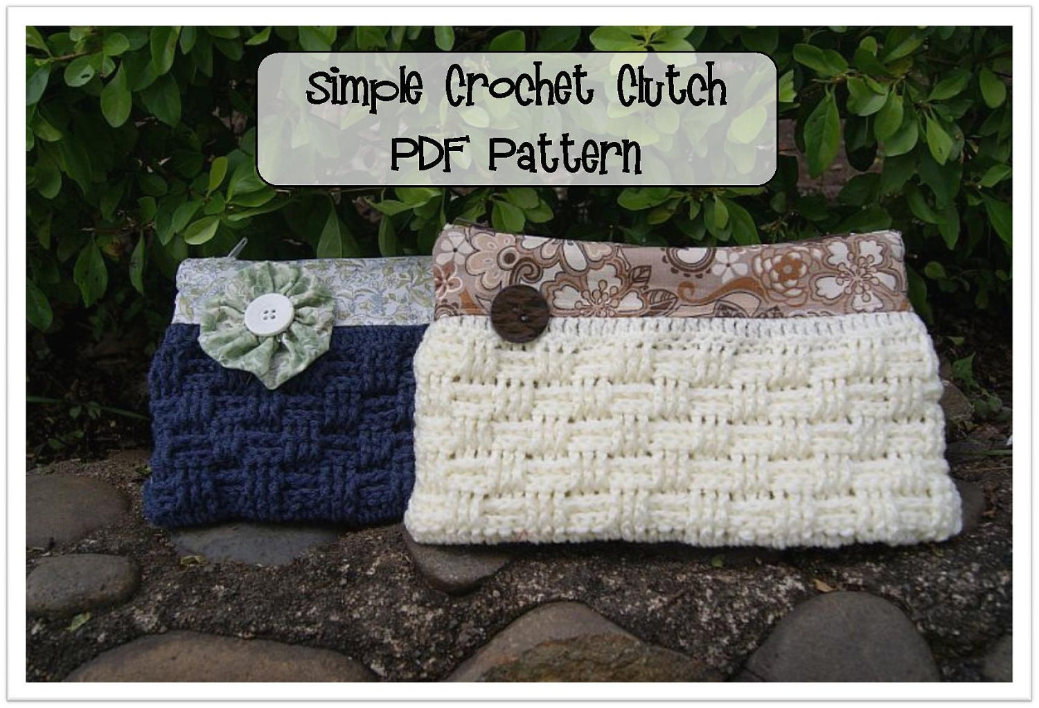 Crochet Clutch Lace Pattern : Simple Crochet Clutch Pattern Etsy