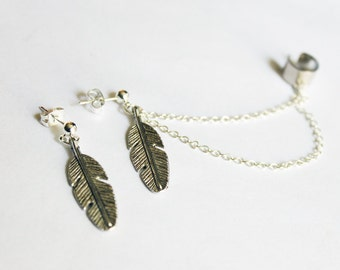 Antique Silver Feather Double Chain Cuff Earring Set