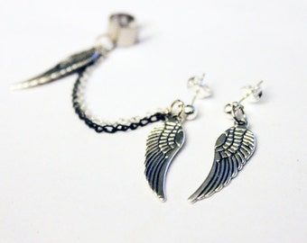 Silver Wings and Double Colored Chain Cuff Earring Set