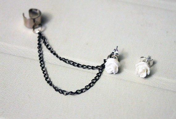White Rose Double Black Chain Cuff Earring -- ONLY 1 LEFT