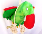 Green Red Yellow Handmade Parrot Animal Doll Baby Toy and Nursery Room.