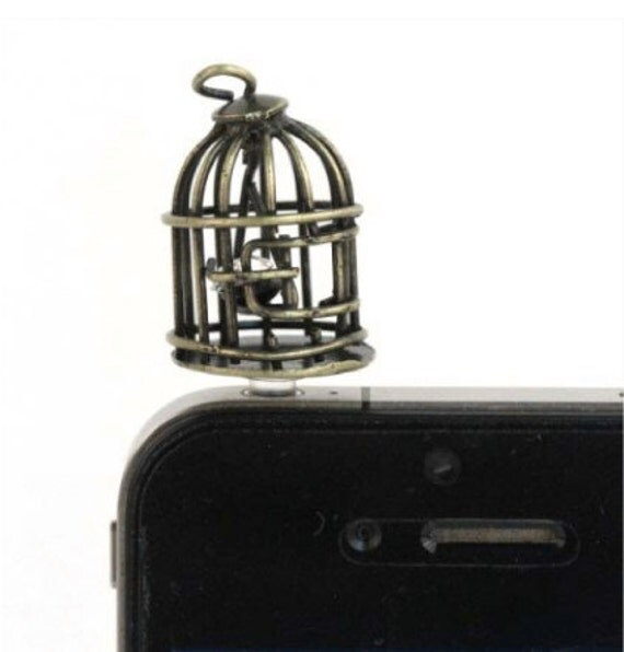Birdcage Cell Phone Charm Plug -  Smart Phone Dust Plug Headphone Plug Charm