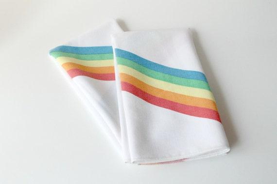 Vintage Cotton Rainbow Napkins Set of Two