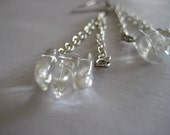 Natural Clear Quartz Crystal Silver Dangling Earrings