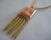 Pink Druzy Square Pendant Necklace with Gold Link Chain