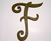 """Large wooden letter """"F"""", 13 inches tall, home decor, distressed, alphabet, handmade, painted Olive green"""