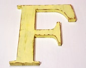 "Wooden letter ""F"", alphabet letters, 12 inches tall, shabby chic, handmade, vintage, rustic, cottage decor, painted Earthly Yellow"