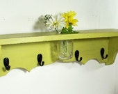 wood shelf 24 inch-floral vase, key hooks, coat hooks, homeorganizer, cottage decor, home decor, distressed, and painted Light Avocado