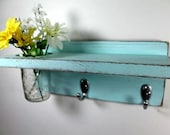 Vintage shelf 2 key hooks with floral wall vase, wood, distressed, sconce, shabby chic, home decor, country style, painted Baby Blue