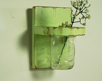 Wooden floral wall vase, sconce, home organizer, distressed, shabby chic, home decor, vintage, painted Spring Green