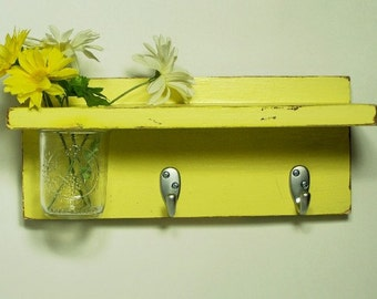 Wood shelf  2 key hooks with floral wall vase,vintage, wood, shabby chic distressed, home decor, country style, painted Late Day Sun