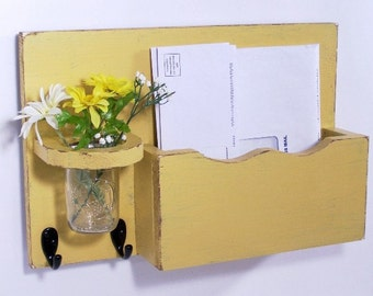 Mail organizer, floral vase, key hooks, mail holder, vintage, sconce, wood, distressed, shabby chic, home decor,painted Yellow Mustard