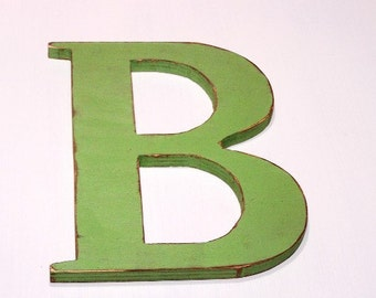 """Wooden letter """"B"""", 12 inches tall, shabby chic, handmade, vintage, rustic, cottage decor, painted Garden Green"""