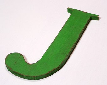 """Large wooden letter """"J"""", nursery letters, 12 inches tall, home decor, shabby chic, distressed, alphabet, wood letters, painted Moss Green"""