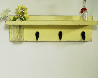 Wall shelf 3 key hooks with floral wall vase, wood, distressed, shabby chic, home decor, painted Earthly Yellow