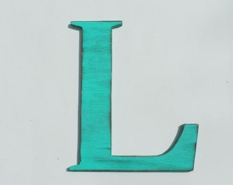 "Wooden letter ""L"", wall hung, 12 inches tall, shabby chic, wood letter, handmade, letters, cottage decor, alphabet, painted Aqua Blue"