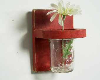 Vintage floral wall vase, wood sconce, home decor, wedding decor, shabby chic, country style, painted Rich Red